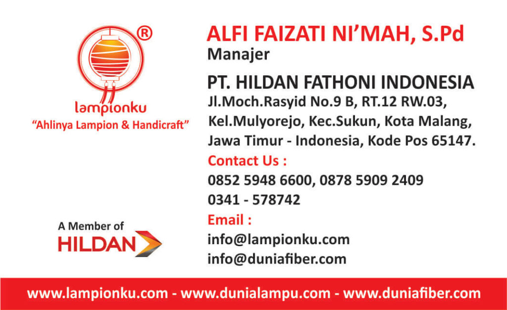 Kartu Nama LampionKu Pengrajin Lampion di Kota Malang