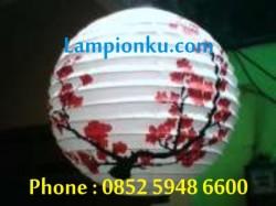 L-107 (Lampion Bulat Motif Sakura), HP: 0852 5948 6600
