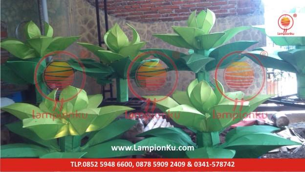 Lampion Taman Bentuk Daun Hijau, LampionKu.com