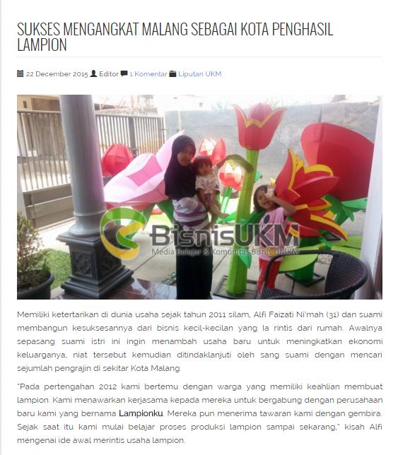 LampionKu.com diliput Majalah BisnisUKM.com