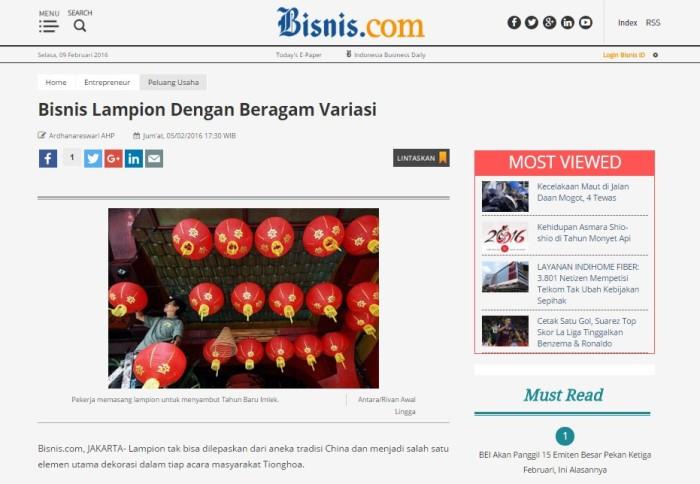 LampionKu.com Liputan dari media nasional Bisnis Indonesia Februari 2016